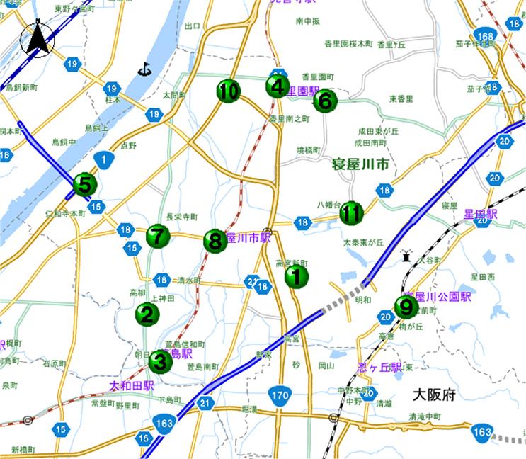 寝屋川警察署交番位置マップ/大阪府警本部